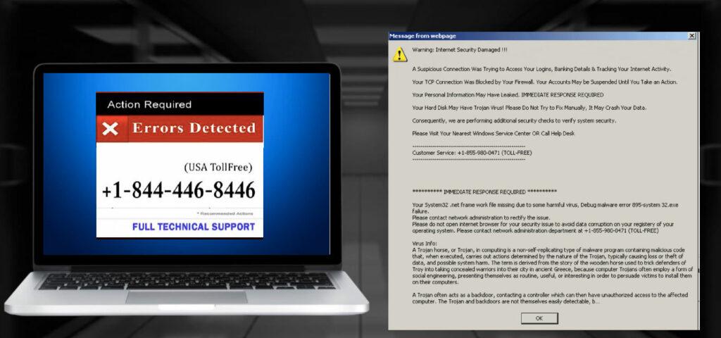 網路詐騙發送假冒的警告訊息