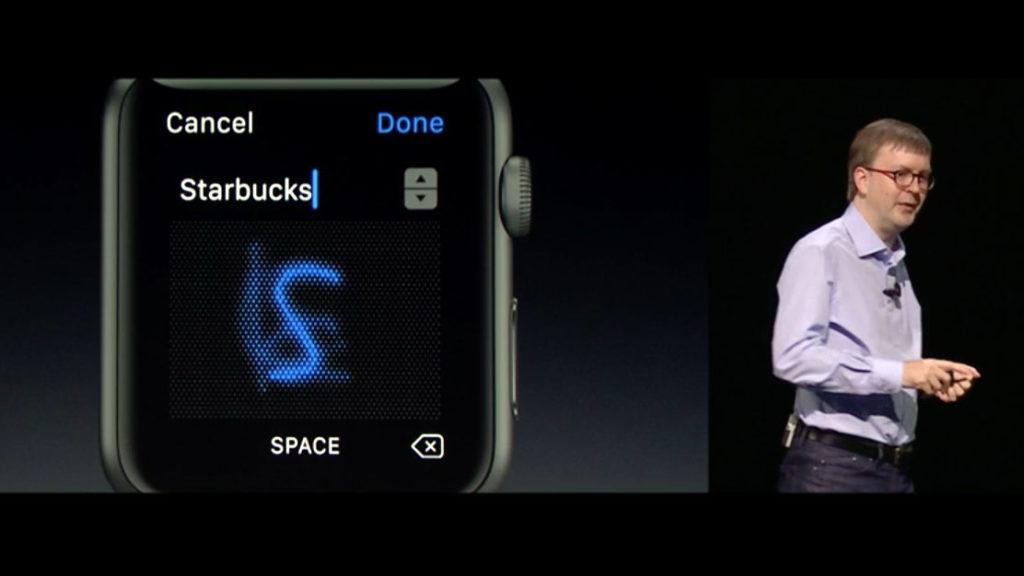▲ watchOS 3可直接從錶面手寫輸入(圖/取自Apple線上發表會)