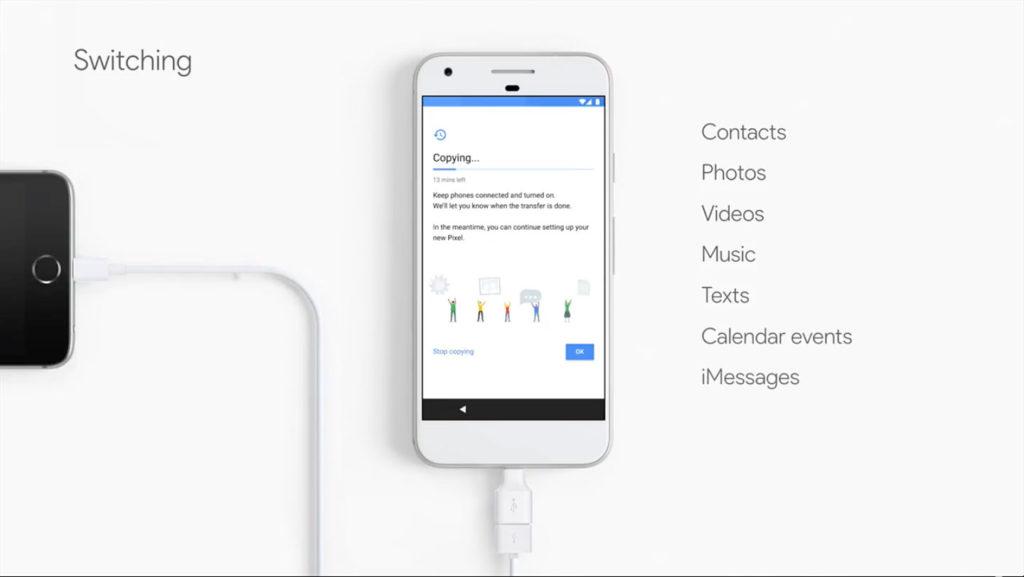 從iPhone將資料轉移至Pixel的畫面