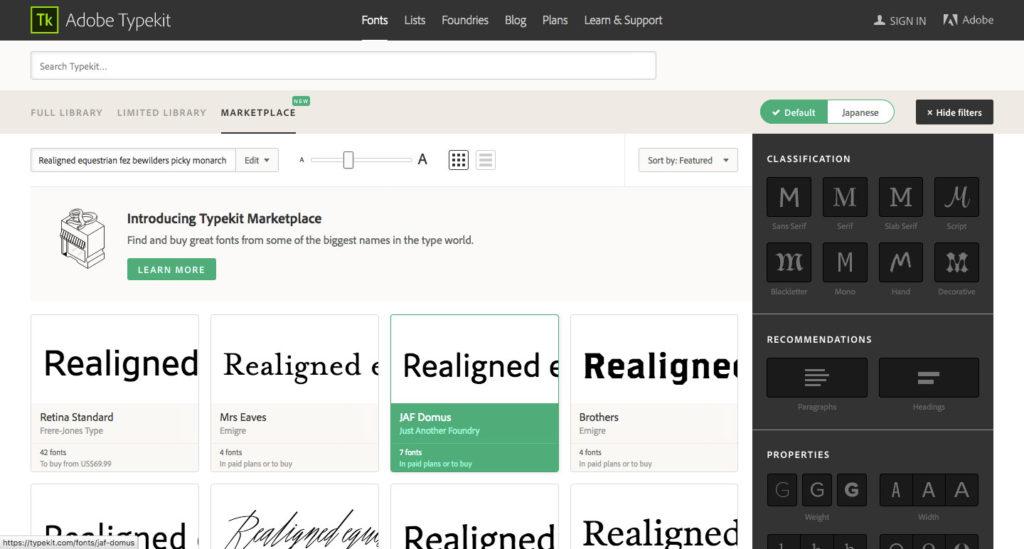 Adobe Typekit marketplace網頁截圖