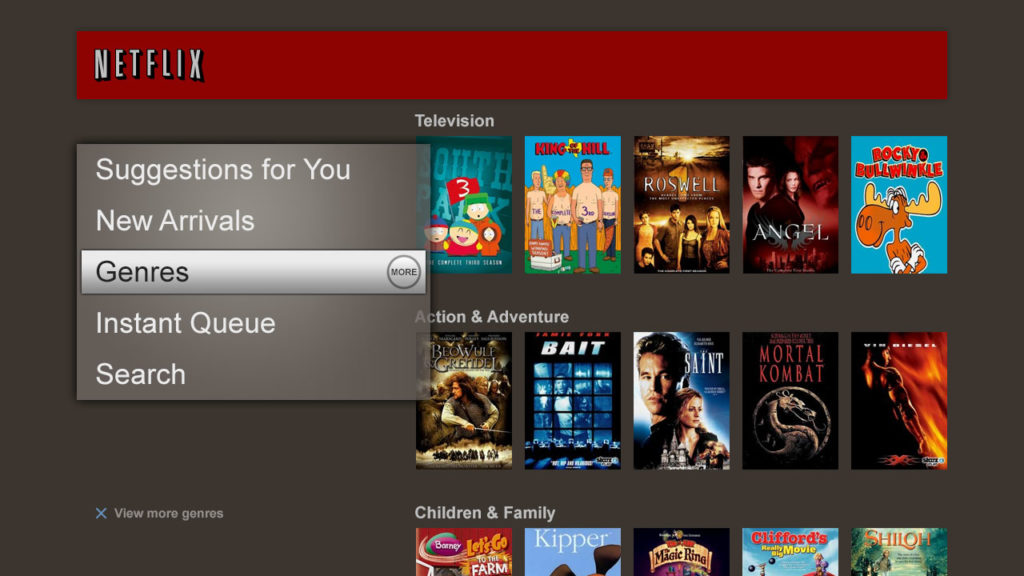 Netflix 2010年第一代使用者介面
