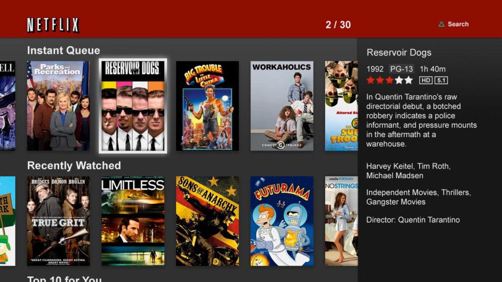 Netflix 2011年第二代使用者介面