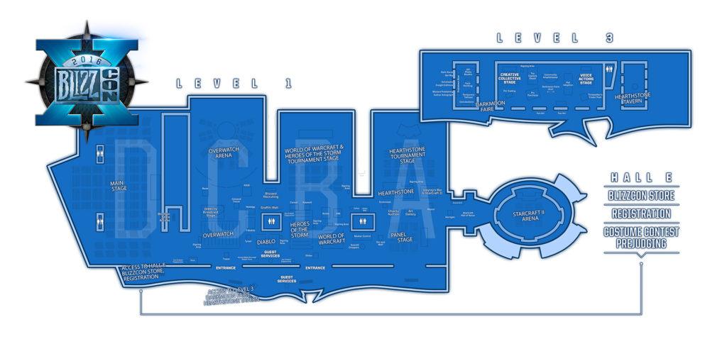 BlizzCon 2016安納漢會議中心樓層配置圖