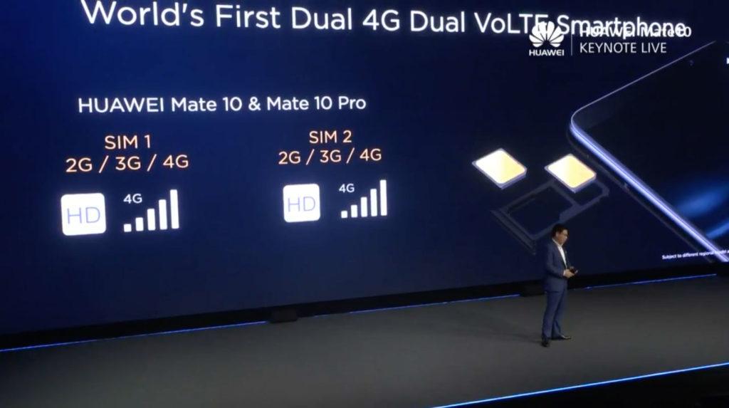 Huawei Mate 10系列兩張SIM卡都支援4G VoLTE
