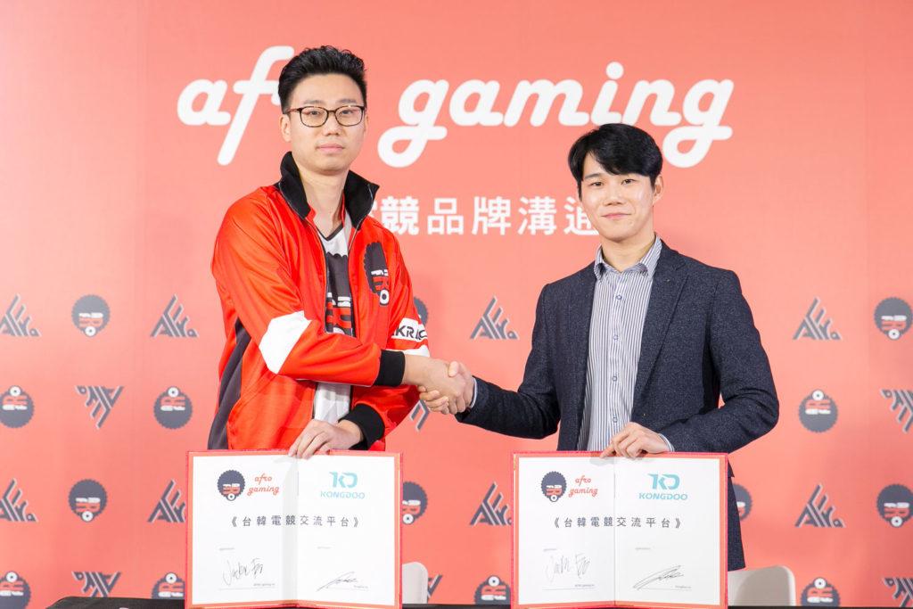 左為普儸電競執行長景翔,右為KONGDOO執行長徐庚鐘