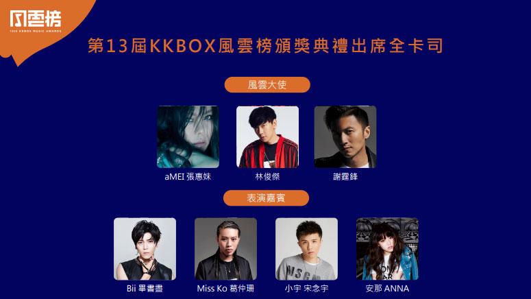 第13屆KKBOX風雲榜風雲大使及表演嘉賓