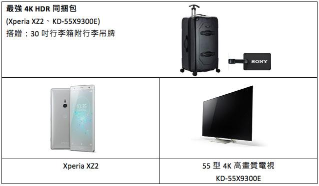 Xperia XZ2最強4K HDR同捆包內容