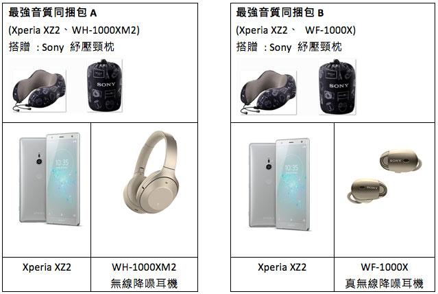 Xperia XZ2最強音質同捆包A、最強音質同捆包B內容