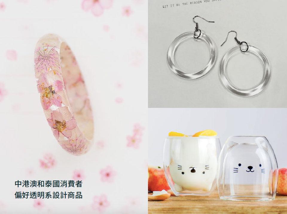 中港澳和泰國消費者偏好透明系設計商品