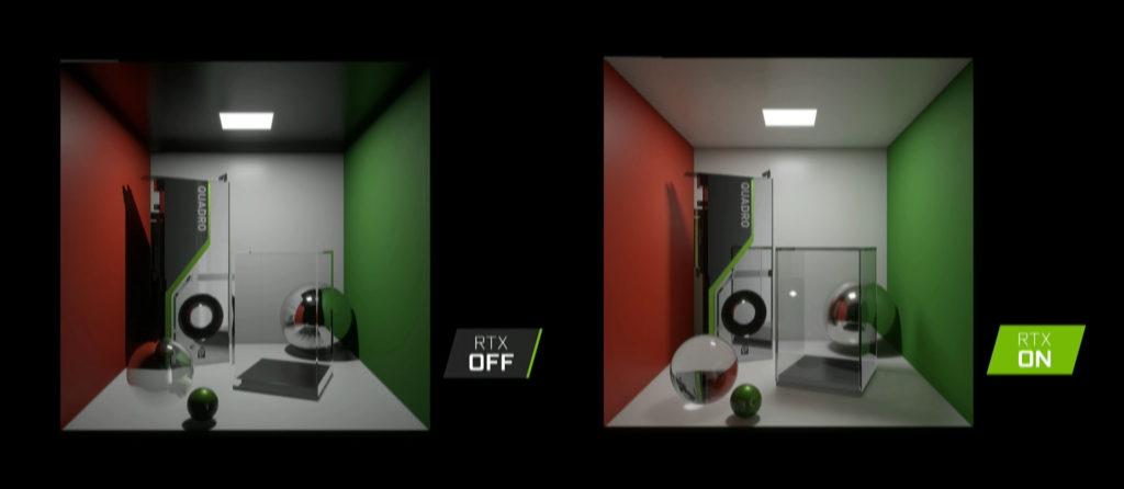 RTX技術啟用前後差異比較圖