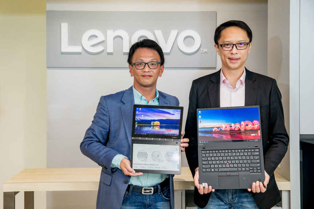 Lenovo亞太區副總裁兼首席營運官及中亞太區總經理張偉豪(右),與Lenovo台灣總經理林祺斌