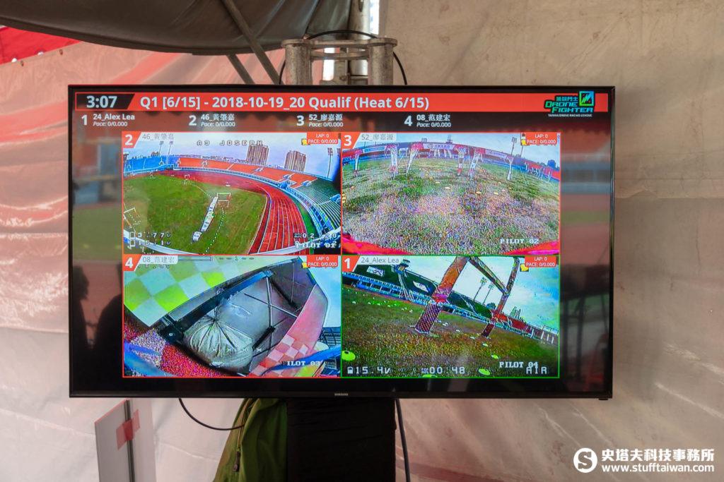 「飛競狂飆無人機競速大賽」觀眾區大電視
