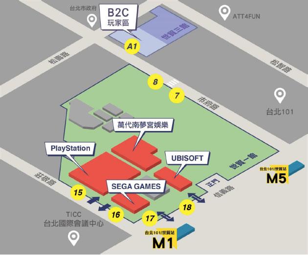 世貿一館玩家區家用主機廠商分布圖