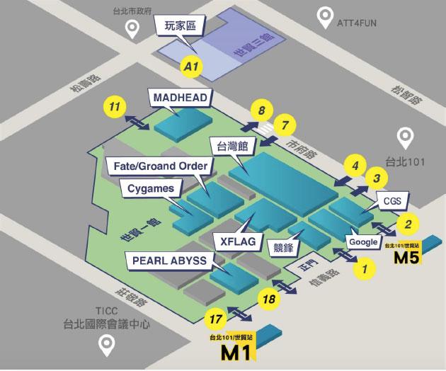 世貿一館玩家區行動遊戲廠商分布圖