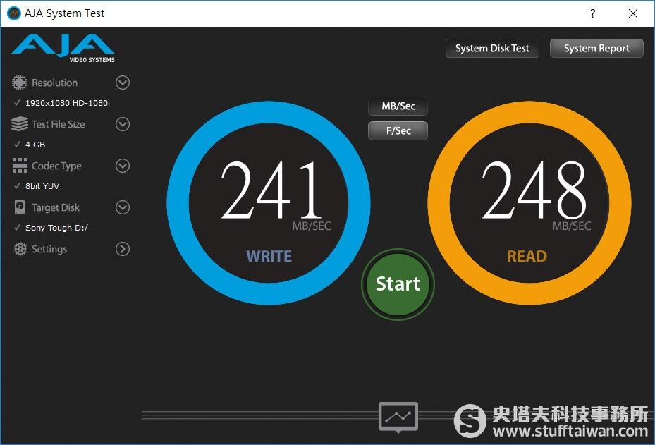 AJA System Test測試Sony SF-G Tough記憶卡在USB 3.1連接埠的傳輸效果