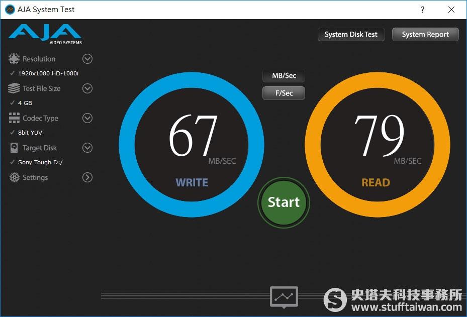AJA System Test測試Sony SF-G Tough記憶卡在內建SD讀卡機的傳輸效果