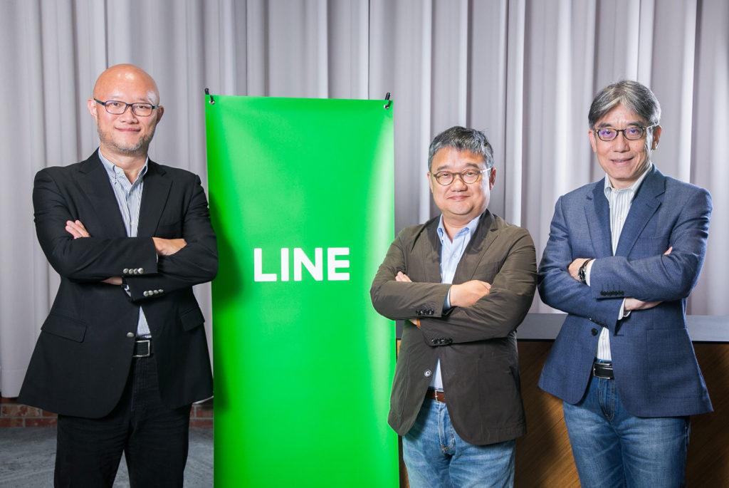 LINE Financial台灣董事長暨總經理 陳立人、LINE財務長 黃仁埈、LINE Bank籌備處執行長 黃以孟