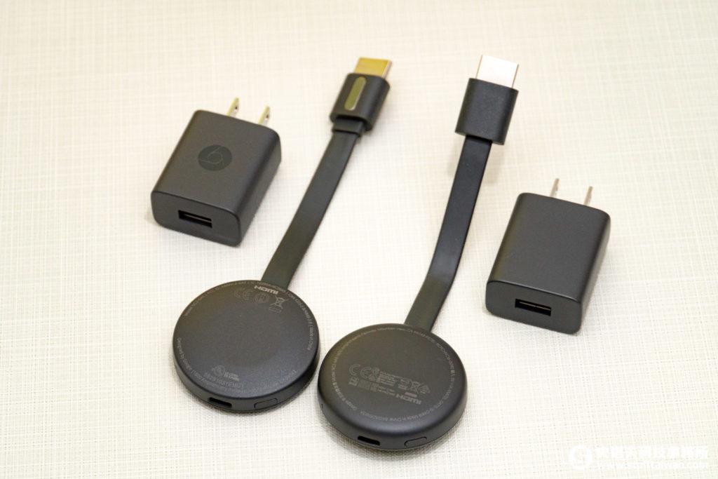 第三代Chromecast背面(右)與第二代外觀相較