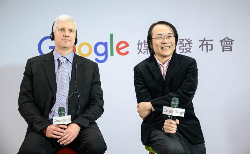 Google台灣董事總經理簡立峰(左)與Google裝置與服務資深副總裁Rick Osterloh(右)