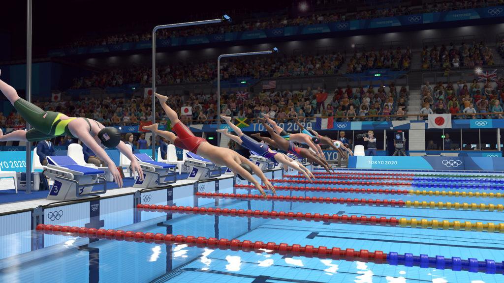 《2020東京奧運 THE OFFICIAL VIDEO GAME》游泳比賽畫面