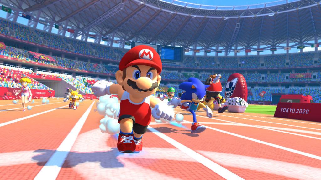 《瑪利歐&索尼克 AT 東京奧運》100公尺短跑比賽畫面