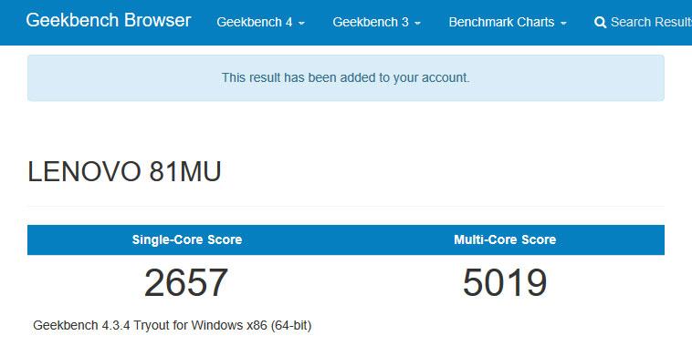 Geekbench 4 CPU跑分結果