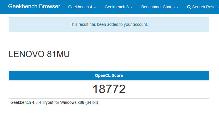 Geekbench 4 GPU跑分結果