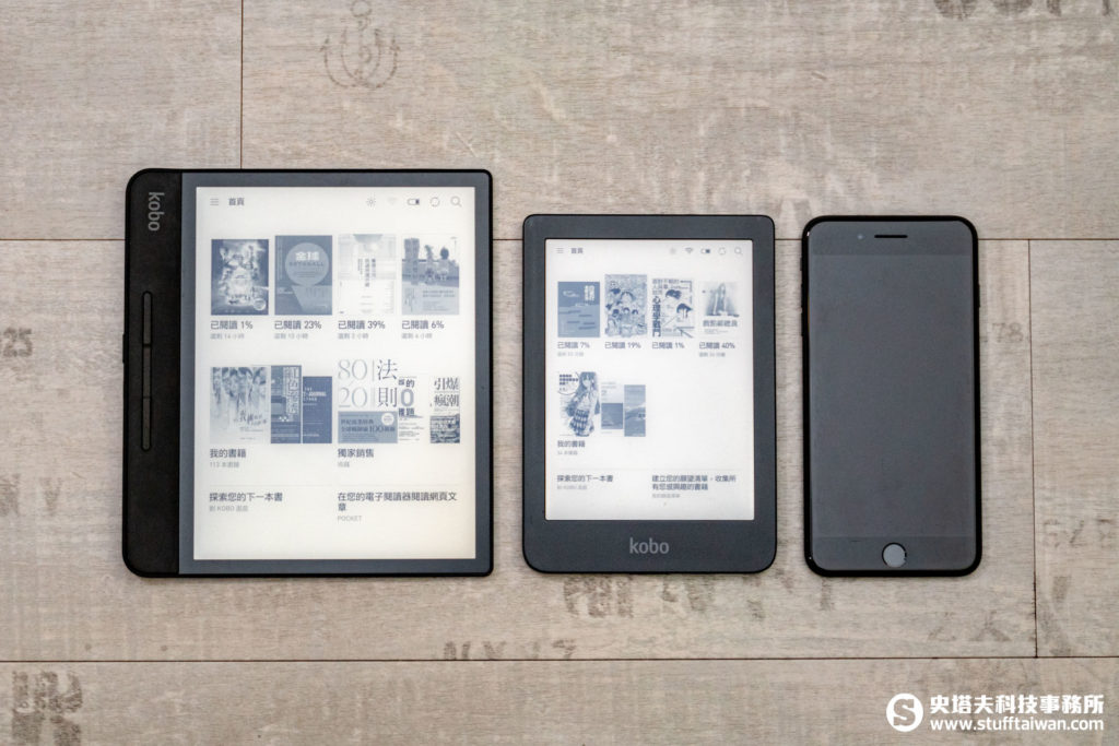 Kobo Clara HD與Kobo Forma、iPhone 7 Plus大小比對