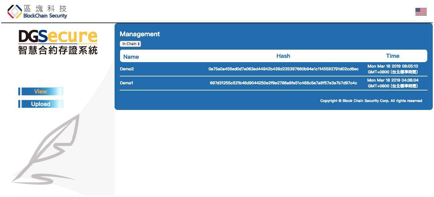 DG-Secure中已經上區塊鏈的紀錄
