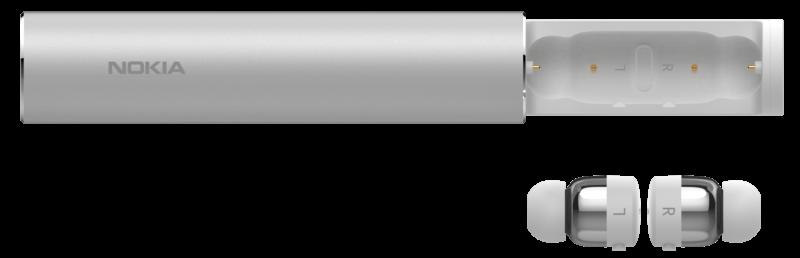 Nokia 真無線藍牙耳機_浩瀚銀_充電槽與耳機