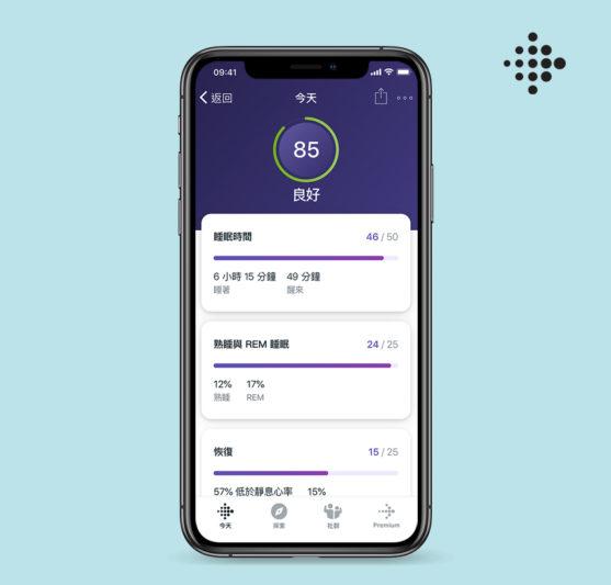 圖六:Fitbit Premium提供高達90多種的正念冥想課程,協助用戶透過正念練習,改善壓力帶來的情緒變化。